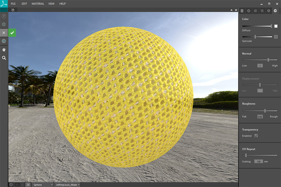 3D preview of a material in xTex