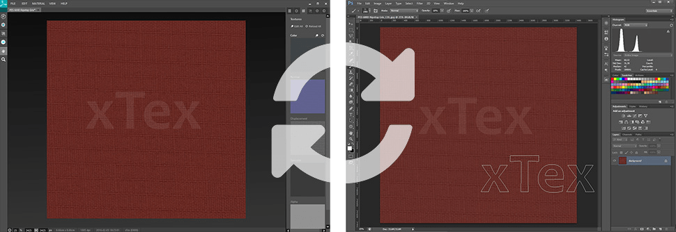 Transferring a material from xTex to Photoshop